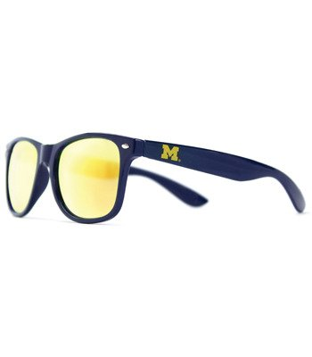One Size Gold Lens Sunglasses Blue NCAA Michigan Wolverines MICH-3 Blue Front Temple