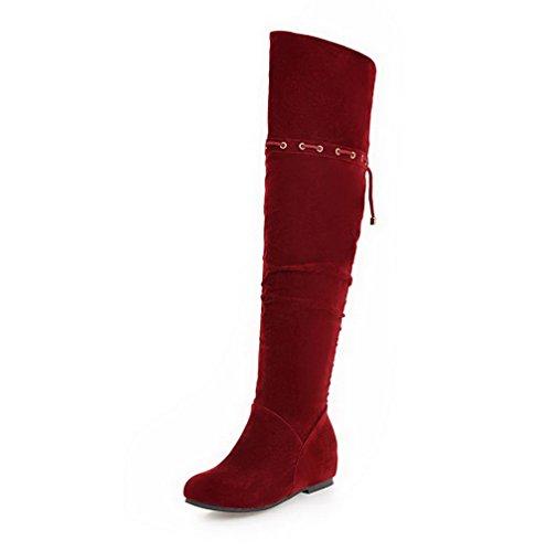 AllhqFashion Mujer Esmerilado Puntera Redonda Mini Tacón Sólido Botas Rojo
