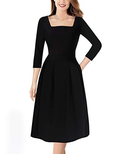 VFSHOW Womens Square Neck Pockets Work Business Casual Skater A-Line Dress 1635 BLK - Square Dress Neckline