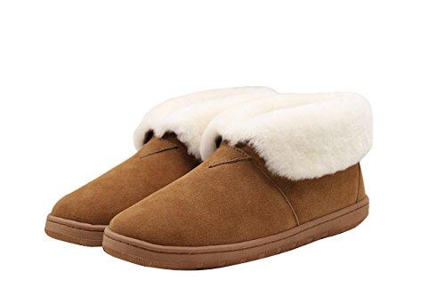 (SUPERLAMB Lady's Sheepskin Hard Sole Bootie Slippers (5))
