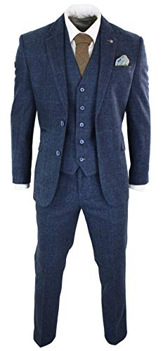 House Of Cavani Mens 3 Piece Navy Blue Suit Tweed Check 1920's Peaky Blinders Tailored Fit Vintage Charcoal ()