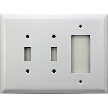 over sized jumbo smooth white three gang switch plate two toggle light switch openings one