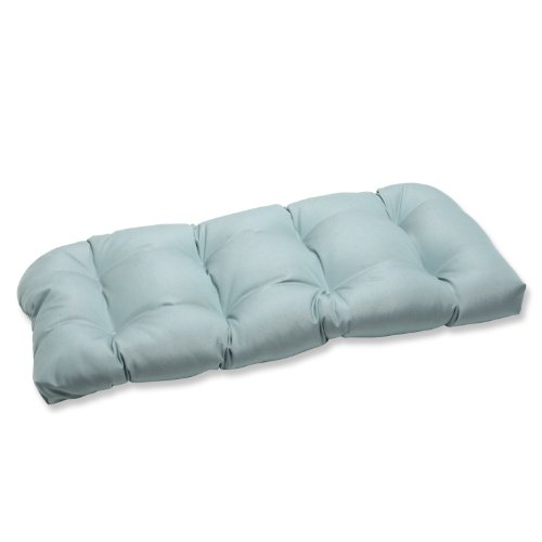 Pillow Perfect Indoor/Outdoor Wicker Loveseat Cushion with Sunbrella Canvas Spa Fabric, 44 in. L X 19 in. W X 5 in. D