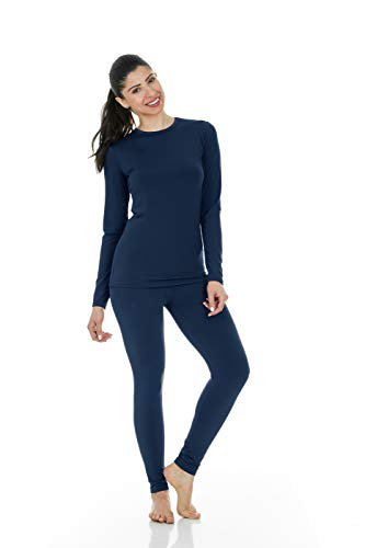 (Thermajane Women's Ultra Soft Thermal Underwear Long Johns Set with Fleece Lined (X-Small, Navy))
