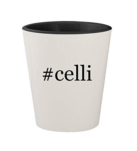 #celli - Ceramic Hashtag White Outer & Black Inner 1.5oz Shot Glass
