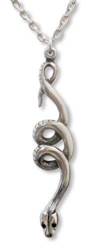 Real Metal Coiled Snake Silver Finish Pewter Pendant Necklace ()