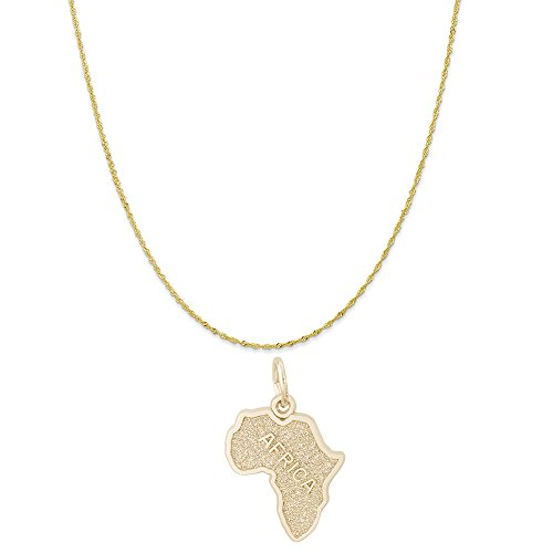 Rembrandt Charms 10K Yellow Gold Africa Charm on a 10K Yellow Gold Twist Curb Chain Necklace, 16'' by Rembrandt Charms