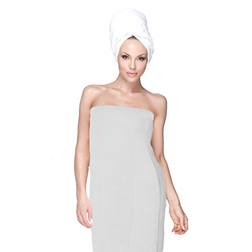 Spa Bath Wrap for Women Turkish Shower Robe 100% Cotton Waffle Weave - Arounds Wrap