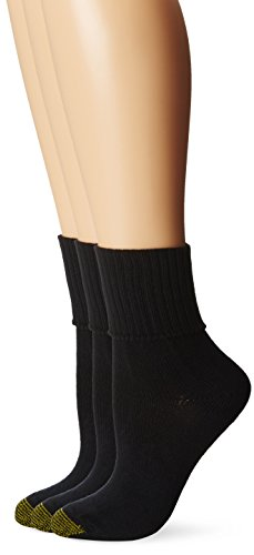 Gold Toe Women's 3-Pack Bermuda Turn Cuff Sock Black 9-11 (Shoe Size 6-9) (Gold Cotton Socks Toe)