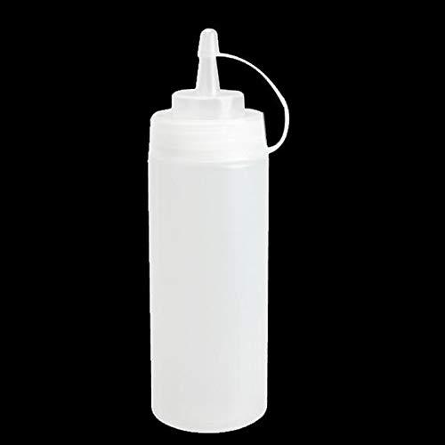 Cozyswan 2 Stück Squeeze Bottle Gewürzflaschen Gewürzspender mit Kappe für Öl Senf Sauce Essig 240z weiß