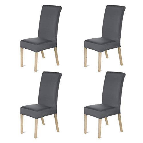 HOMFA Stretch Chair Cover Slipcover Dining Room, Furniture Protector for Home Kitchen Hotel Ceremony(Set of 4, Deep Gray)