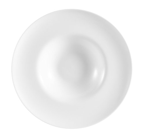 CAC China FDP-11 Paris-French Round 11-Inch 12-Ounce Super White Porcelain Thin Pasta Bowl, Box of 12 by CAC China