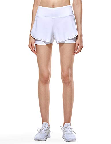 CRZ YOGA Women's Running Workout Shorts with Liner 2 in 1 Athletic Sport Shorts with Zip Pocket-4 inch White_r311_New L(12) ()