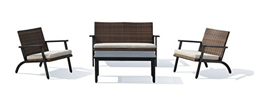 Lourde Living Gold Collection Ko Olina 4 Piece Rattan Wicker and Aluminum Outdoor Patio Furniture Conversation Set, Brown