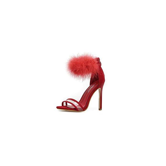 Ghfjdo Donne Open Toe Sandali Nuovo Moda Cinturino Alla Caviglia Scarpe Primavera Estate Lace Up Blocco Tacchi Alti Barca Scarpe Da Sposa red 41eu