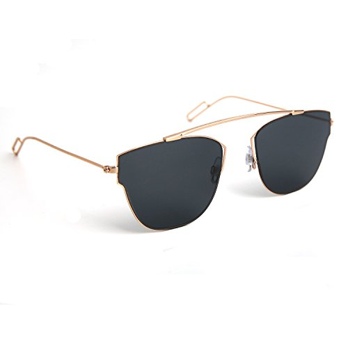 JOOX Fashion Metal Square Sunglasses and 100% Uv Protection Lens (Shiny light gold/Smoke, - Sunglasses Uv 500
