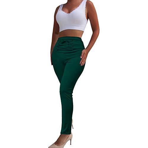 Lefthigh Women Cozy Tight Bandage Tie High Waist Elastic Trousers Casual Slim Stretch Long ()
