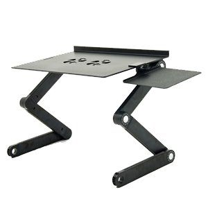 iCraze Adjustable Vented Laptop Table Laptop Computer Desk Portable Bed Tray Book Stand Multifuctional & Ergonomics Design Dual Layer Tabletop (Black) (Adjustable Keyboard Riser)