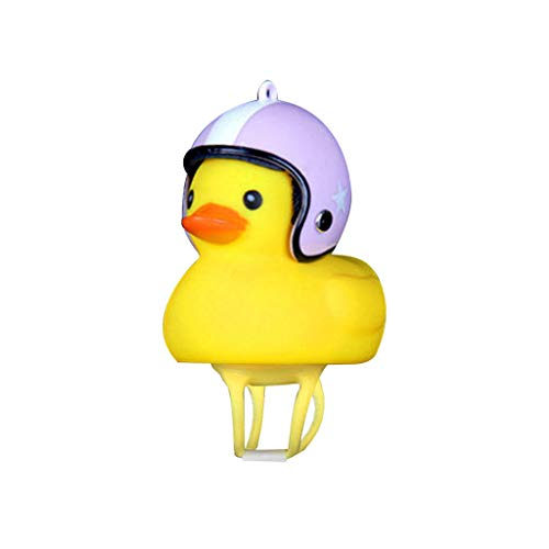 Sodoop Shining Duck Bike Bell, Kids Bike Horn Cute Bicycle Accessories Lights Bell Squeeze Horns for Kids Toddler Children Adults Cycling Light Rubber Duck Helmet Toys Sport Outdoor