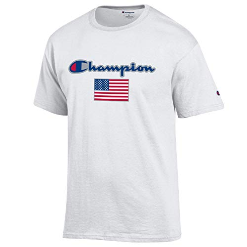 Champion Men's USA/Military Collection-Air Force, Army, Marines-Cotton T-Shirt (Large, USA/White Script Over USA (Juniors Marines T-shirt)