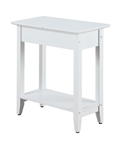 Convenience Concepts American Heritage Flip Top End Table, White ()