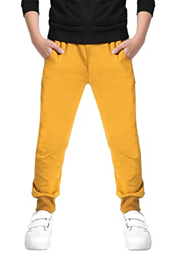 (Kids Cotton Pull On Active Sports Jogger Track Sweat Pants for Little Boys, Yellow, Age 4T-5T (4-5 Years) = Tag 120)
