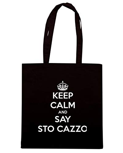 KEEP TKC0194 CALM Shopper Borsa Speed Shirt SAY STO CAZZO Nera AND InwBRXx