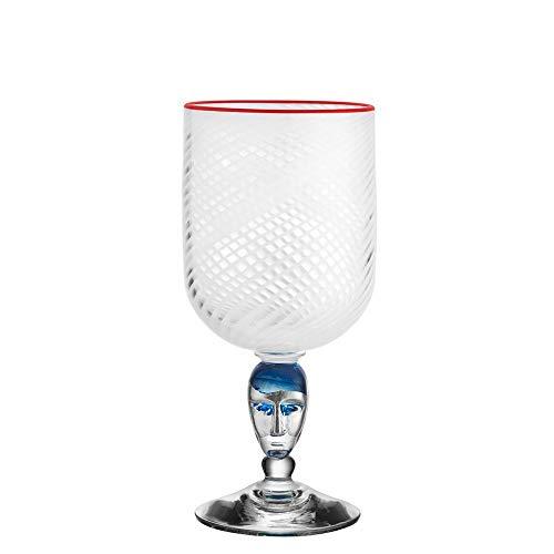- Kosta Boda Red Rim Brains Footed Vase, White
