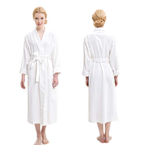 AQUIS - White Soft Waffle Weave Robe, Ultra Absorbent & Fast Drying Microfiber Robe - Robe Waffle Pique
