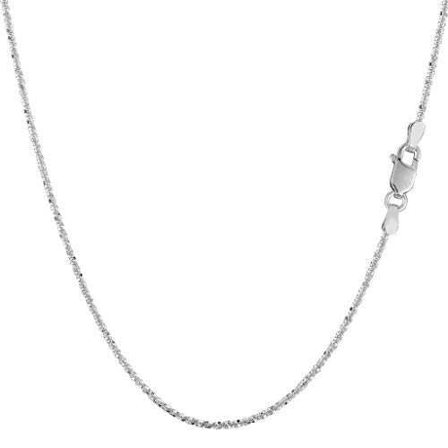 - 14K Yellow or White Gold 1.1mm Shiny Diamond-Cut Sparkle Chain Necklace for Pendants and Charms with Lobster-Claw Clasp (16