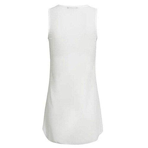 Weiß Shirt Tank Tops 5 Reißverschluss T Oberteile Sommer Damen DOLDOA Frauen 1wzcaw8Tq