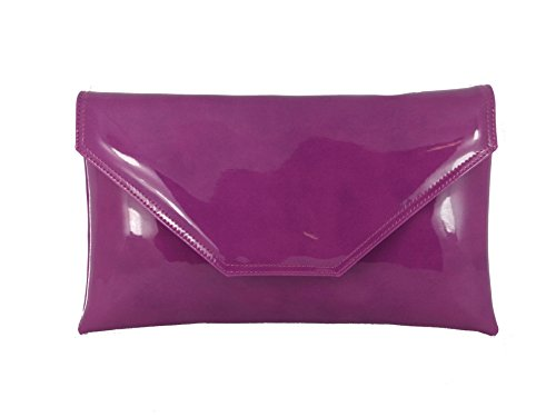 Large Womens Purple Party Bag Patent Envelope Loni Prom Wedding Bag Bag Pink Damson Stylish Shoulder Clutch SEZqdaw