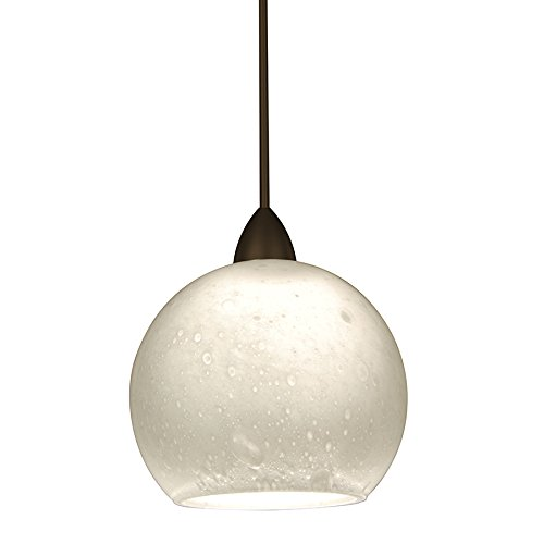 WAC Lighting MP-599-WT/DB Rhea 1-Light 12V MonoPoint Pendant with White Art Glass Shade, Dark Bronze Finish