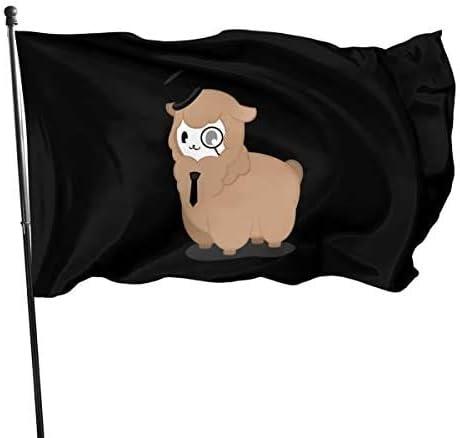 Viplili Banderas Outdoor Flag Alpaca Detective Sheep Decorations Flag for Garden Yard Home Party 3x5 Ft