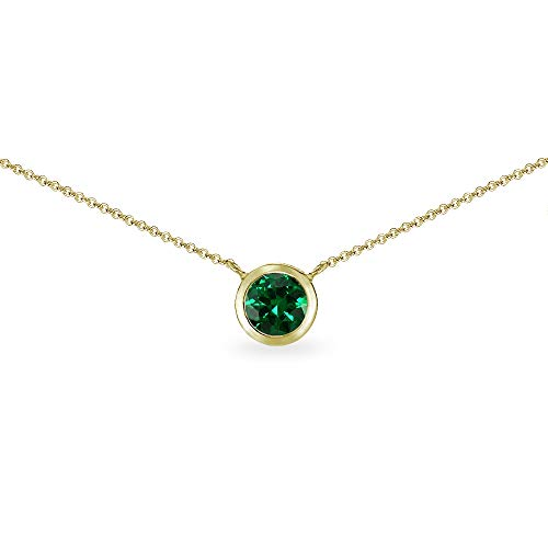 Gold Flash Sterling Silver Simulated Emerald 6mm Round Solitaire Bezel-Set Dainty Choker Necklace for Women