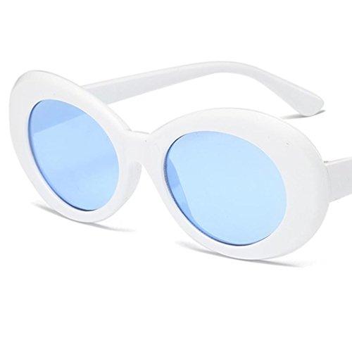 Homme Soleil Rond Lunettes Miroir bleu Lunettes blanc MagiDeal de Rétro Lentille Femme qaWUz