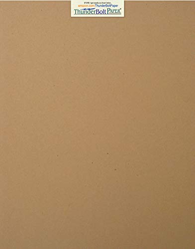- 100 Brown Kraft Fiber 28/70# Text (NOT card/cover) Paper Sheets - 11