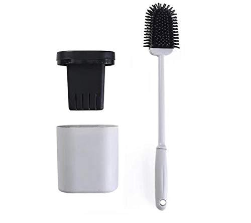 Hygienic Toilet Brush Silicone and Holders Upgraded Modern Design, Bathroom Toilet Bowl Brushes with Quick Drying Holder Set (Mounted Wall)