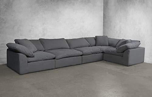 Sunset Trading SU-1458-94-3C-2A Cloud Puff 5 Piece Modular Performance Gray Sectional Slipcovered Sofa, Grey