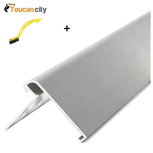 Tile Edging Trim - Toucan City Tile and Grout Brush and Custom Building Products Satin Silver 3/8 in. x 98-1/2 in. Aluminum RS-Bullnose Step Tile Edging Trim H8722MA98