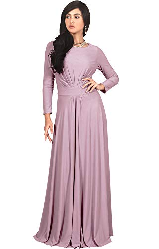 Gown Sleeve Jersey (KOH KOH Plus Size Womens Long Full Sleeve Sleeves Flowy Empire Waist Fall Winter Modest Formal Floor Length Abaya Muslim Gown Gowns Maxi Dress Dresses, Dusty Pink XL 14-16)