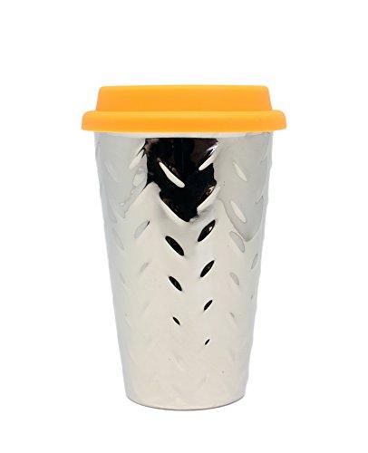 DCI I Am Not A Paper Cup, Travel Coffee Mug, Orange Lid, 12oz Capacity, Diamond Plate Design, Silver, Ceramic, Spill-Proof