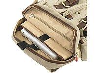 Xcase Reise Rucksack: Canvas-Rucksack mit Lederapplikationen (Armeerucksack)