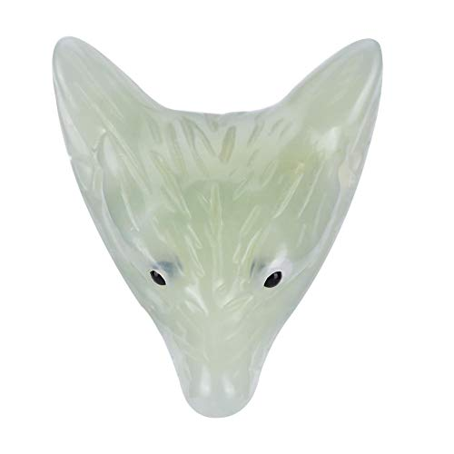 Natural Quartz Wolf Head Figurine,Wolf Head Statue Pendant Natural Stone Crystal Quartz Carved Necklace(#02 New Jade)