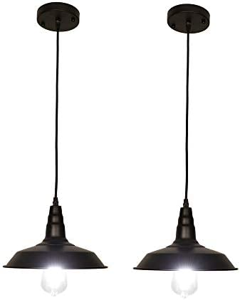 LynPon Barn Pendant Light, Industrial Rustic Hanging Lamp, Mini Black Ceiling Light Fixture, Restaurant Modern Farmhouse Kitchen Island Bar Lighting, 2 Pack