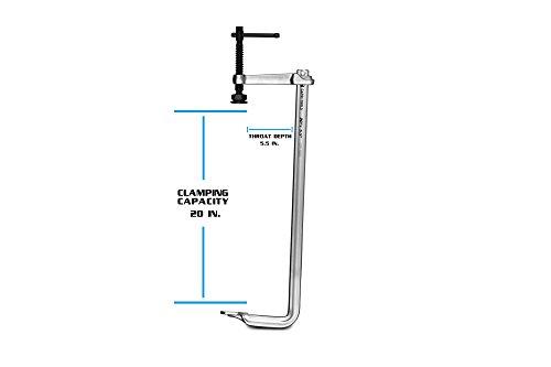 Capri Tools 20-Inch Heavy Duty All Steel Bar Clamp, 5-1/2-Inch Throat Depth, 2,645 lb Clamping Force by Capri Tools (Image #2)