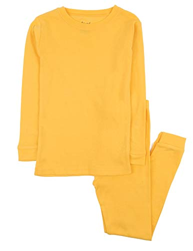 Leveret Kids Pajamas Boys & Girls Solid Yellow 2 Piece Pajama Set 100% Cotton Size 6 Years