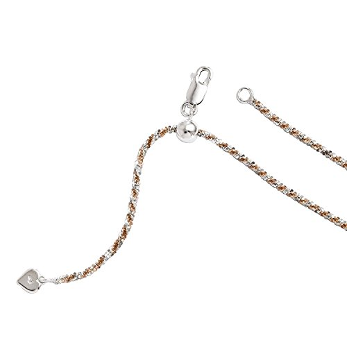 Leslies Sterling Silver Rose Gold-plated Adjustable Cyclone Chain Necklace -
