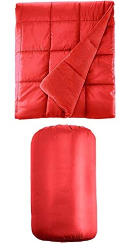 Waterproof Quilted Down Alternative Indoor Outdoor Throw Blanket 50″ x 60″ Packable with Travel Sack (Red)