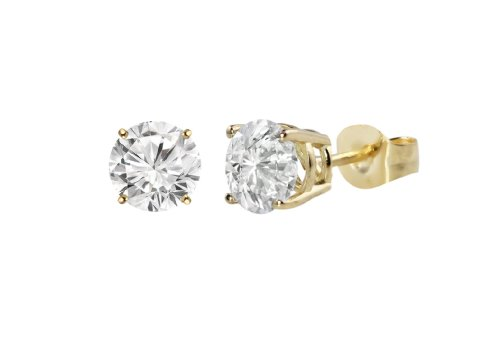 Certified 14k Yellow Gold Round Diamond Stud Earrings (1/2 cttw, I-J Color, I1-I2 Clarity)